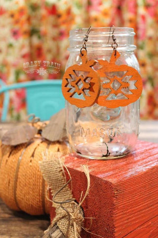 Pumpkin Spice Aztec Cutout earrings