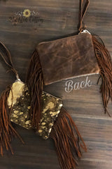 Acid Washed Cowhide Fringe Bag