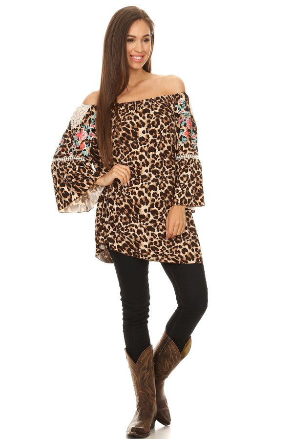 Leopard Off the Shoulder Embroidered Tunic