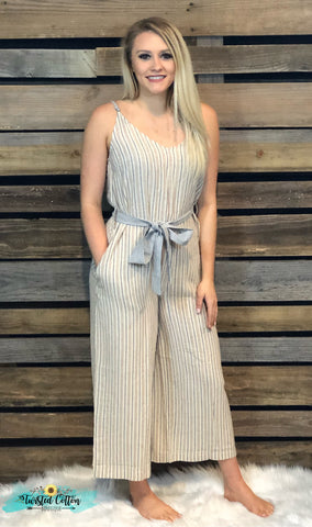 ticking jumpsuit romper adjustable straps
