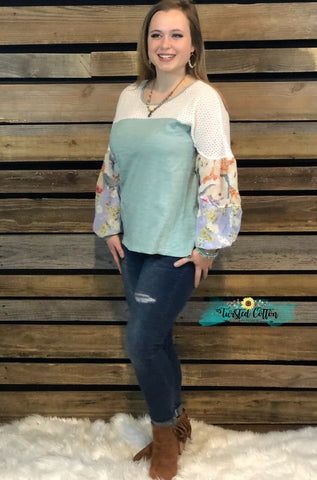 April Showers Floral Sage Puffy Sleeve Top