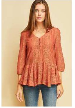 Rust Poppy lace Peplum Top