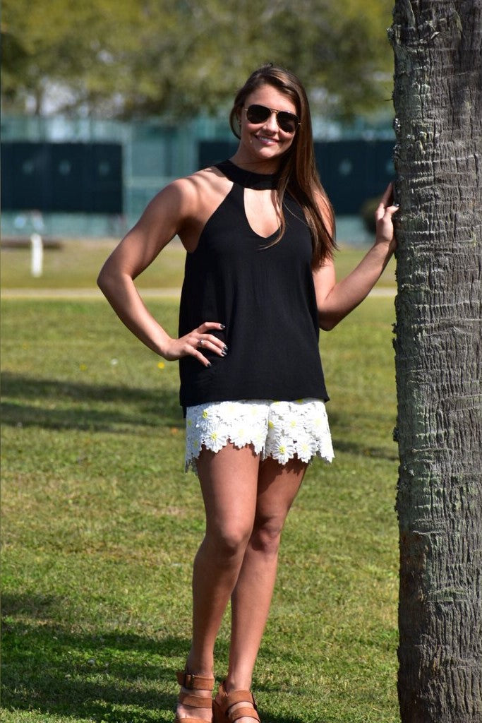 Daisy and Black Romper
