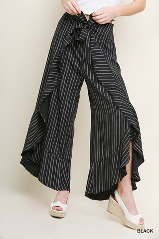 Bonnie and Clyde Striped Mid-Rise Wide Leg Tulip Ruffle Pant