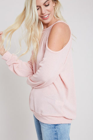 Blushing Valentine Cold Shoulder Top