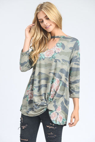 Camo & Floral Knotty Top