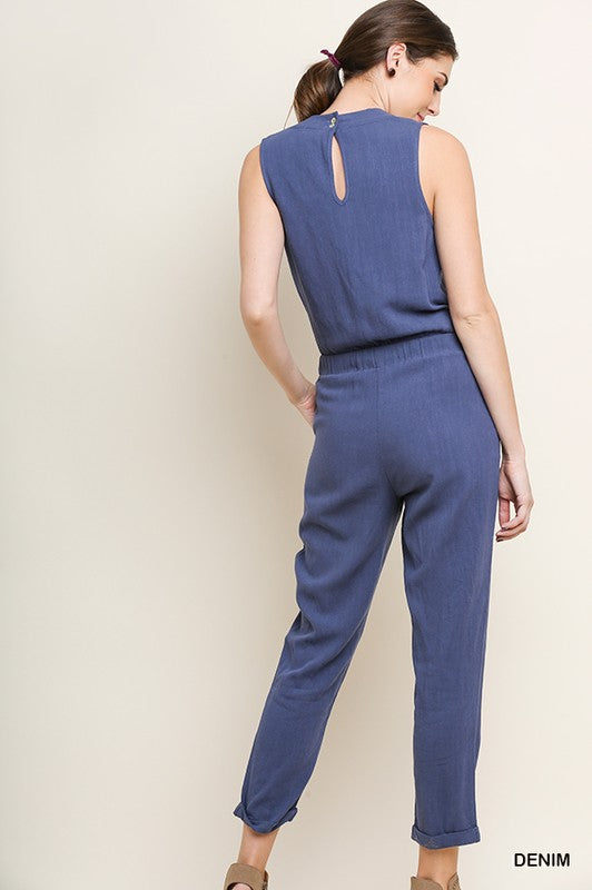 Linen Blend Sleeveless V-Neck Pant Jumpsuit