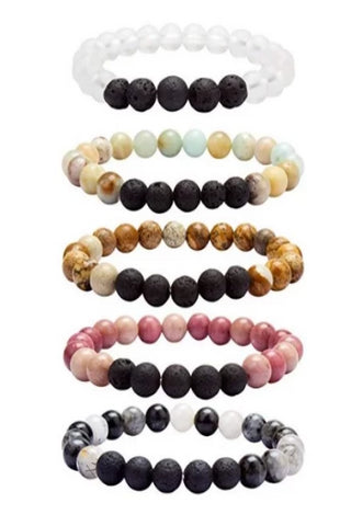 Gemstone and Lava Bead Oil Diffusing Bracelets