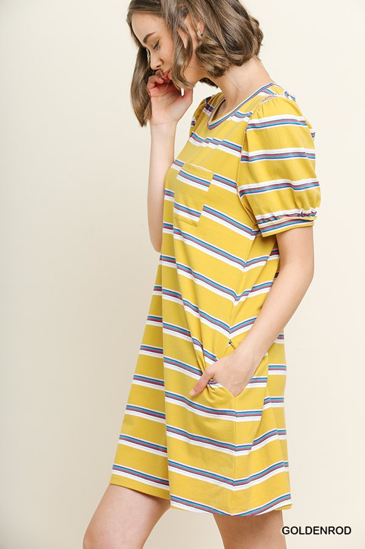 Goldenrod Striped Puff Sleeve Pocket Tee Dress