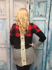 Plaid & Stripes Color Block Top