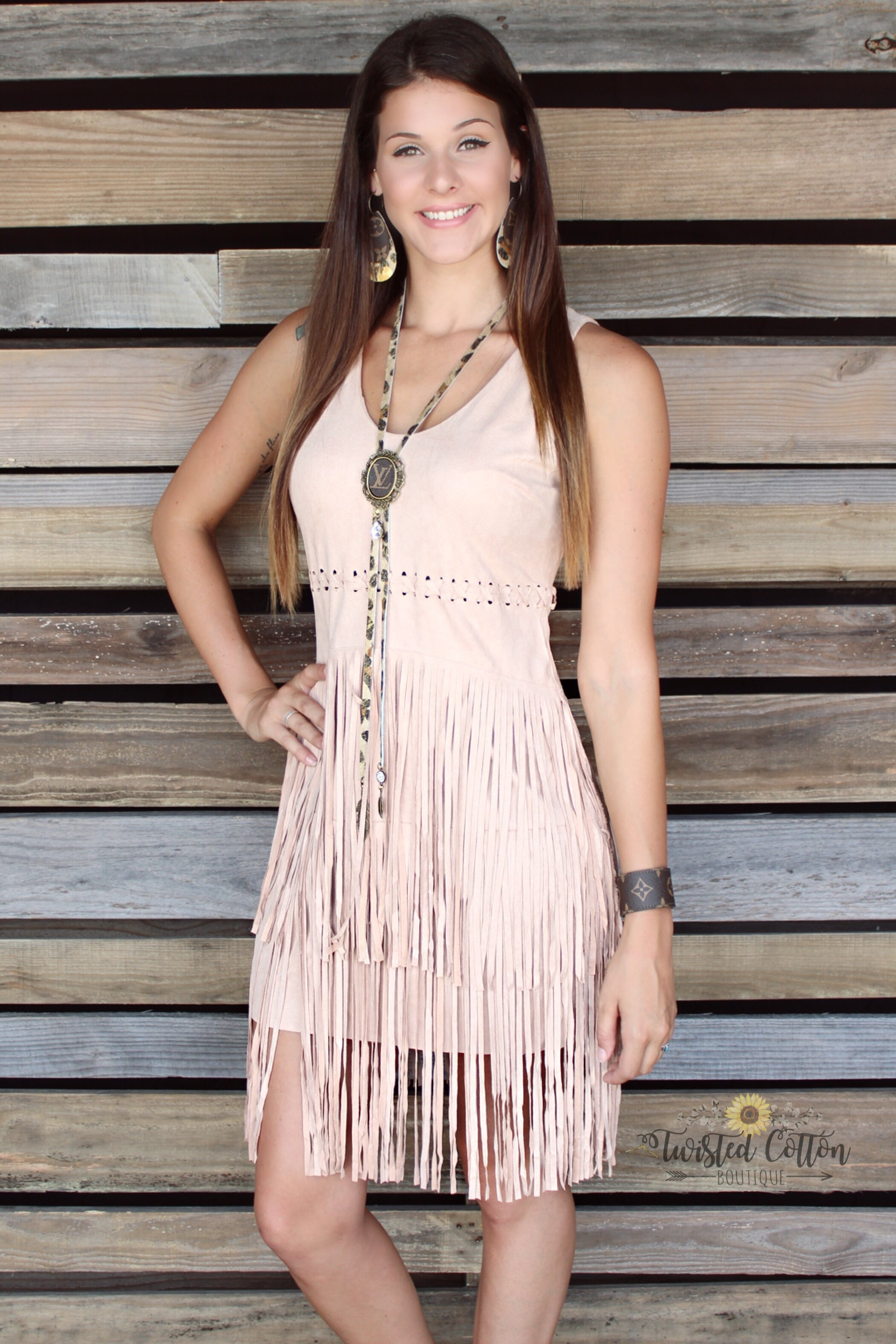 rodeo fringe suedelike dress