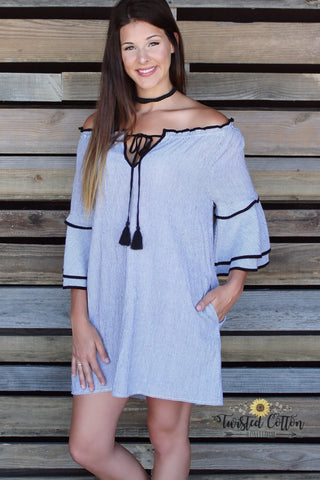 Sensual Stripes & Bells Off the Shoulder Dress