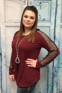 Bold in Burgundy Mesh Sleeve Top