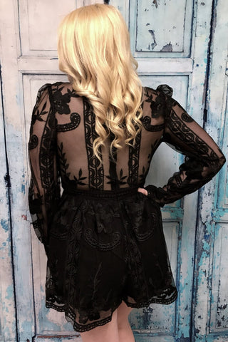 CM Vintage Vision Black Lace Going Out Romper