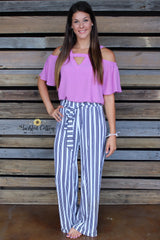 White Striped Palazzo pants