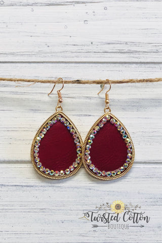Crystal Trimmed Leather Teardrop earring