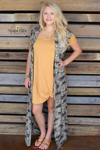 Can't Buy Me Love Camo split side duster