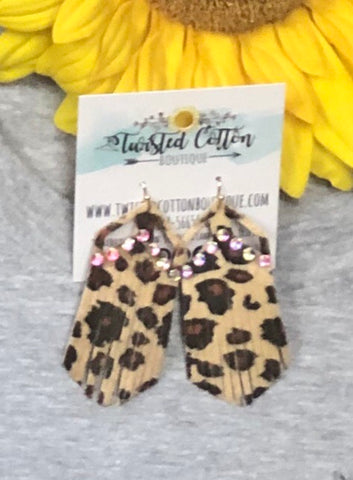 Leopard AB Fringe Earrings