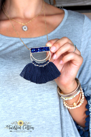 Royalty Gold and Navy Fringe Necklace