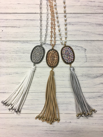 Bling Oval and Fringe Necklaces