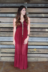 Maroon Illusion Maxi Dress
