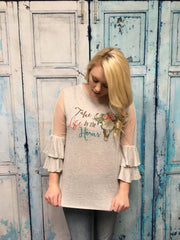 """Take Life by the Horns"" Mesh Sleeve Top"