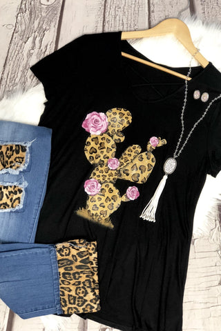 Leopard Love Cactus Caged tee