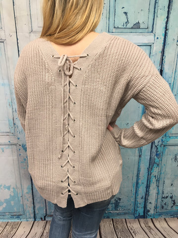 Neutral Mauve Lace Back Sweater