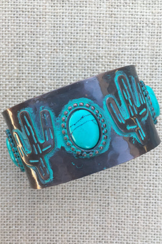 Bronze and Turquoise Cactus Cuff