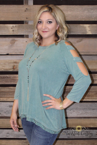 Tattered Turquoise Cutout top