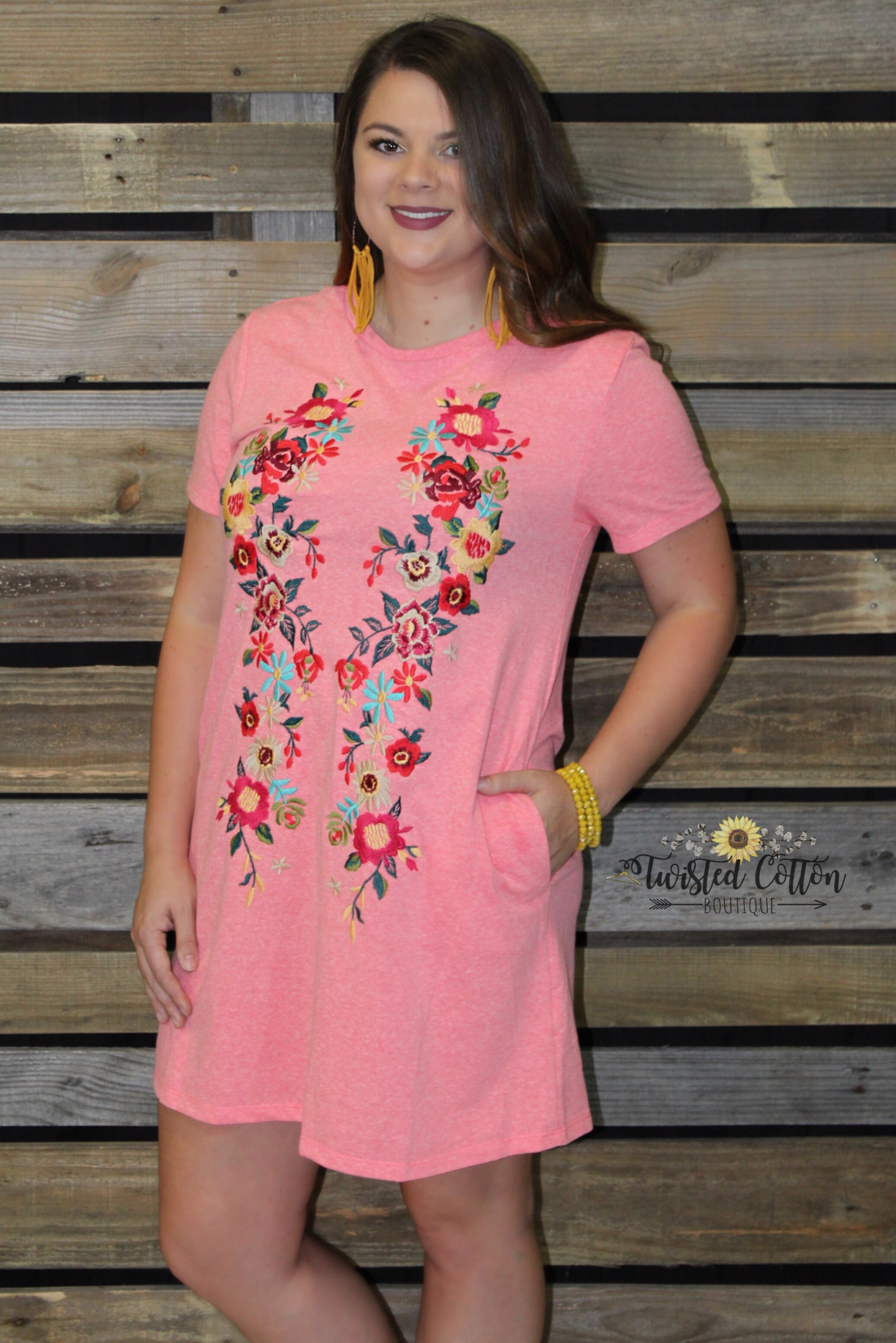 Coral Floral Pocket T-shirt Dress