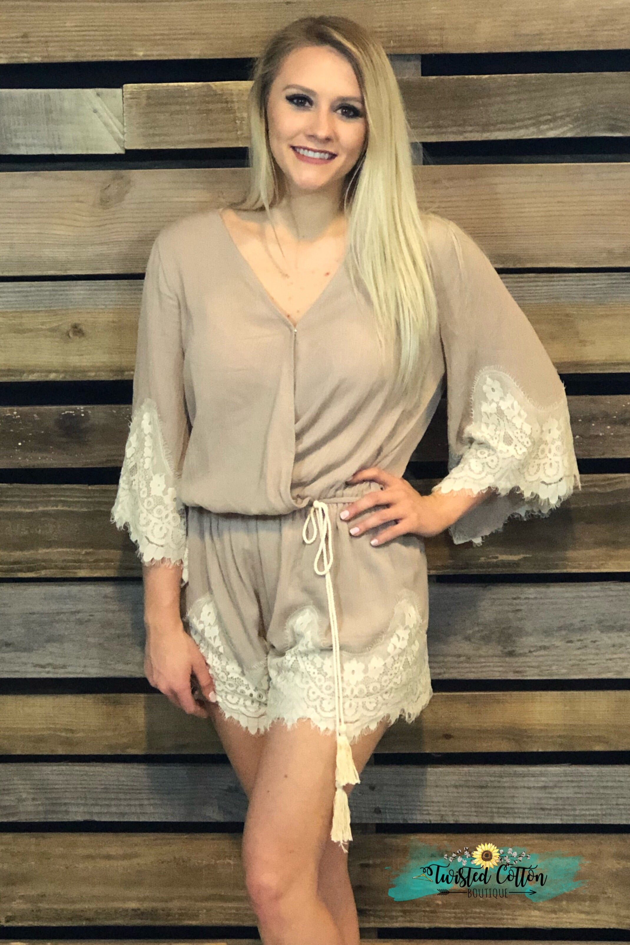 Better Than Beige Lace Romper