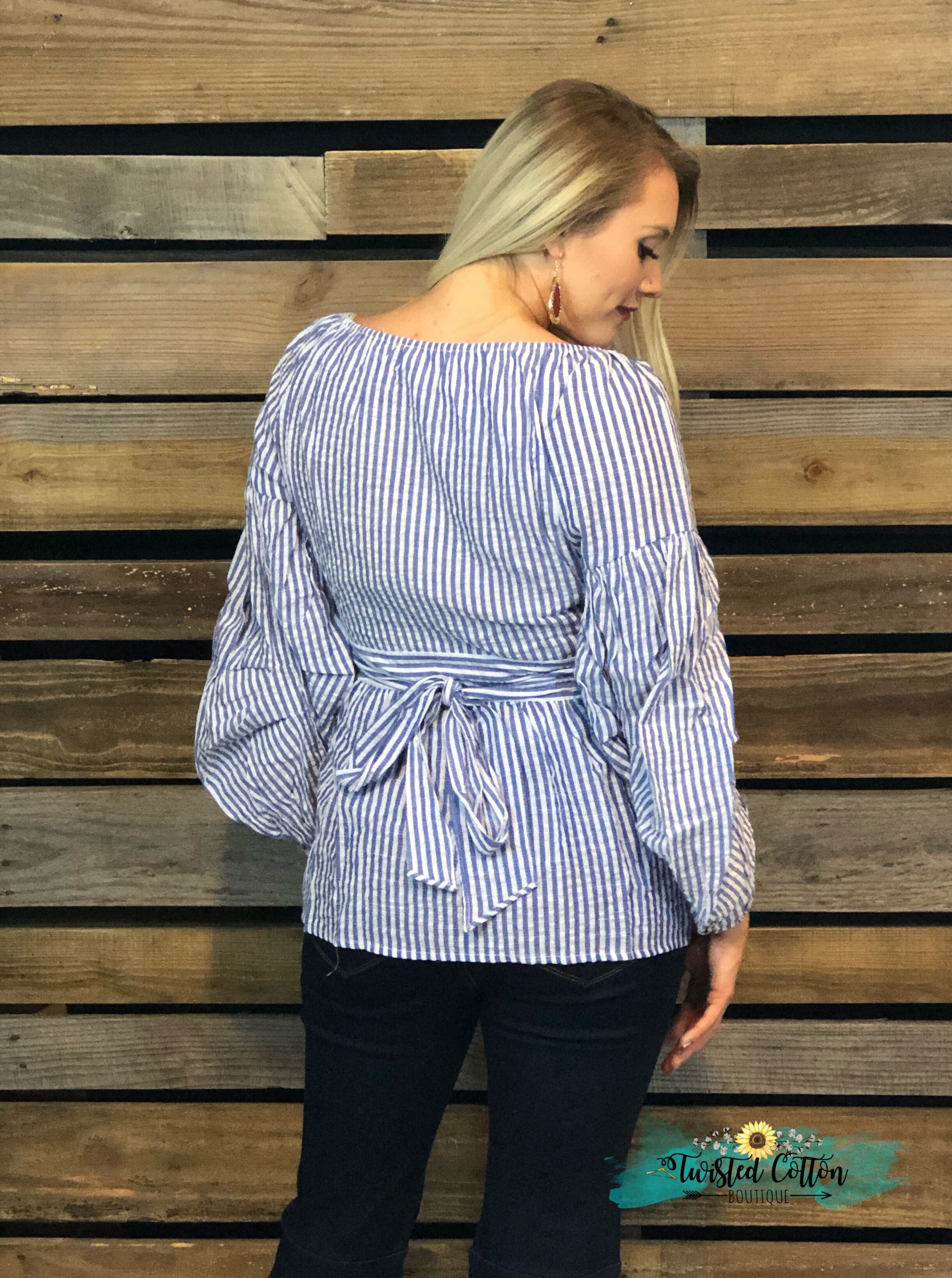 Arabesque Navy Striped Denim Top
