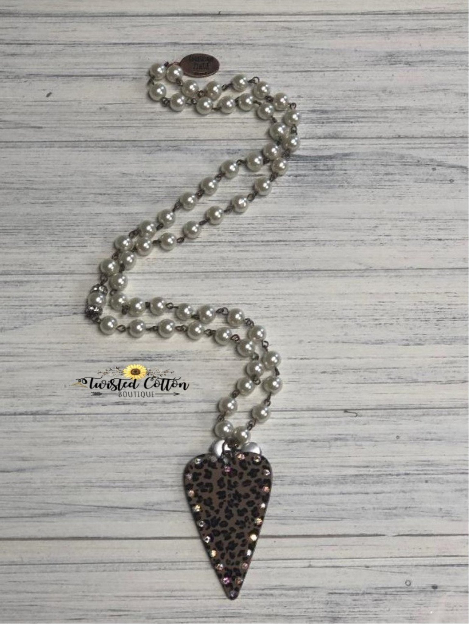 Wild About You Leopard Heart and Pearl Necklace