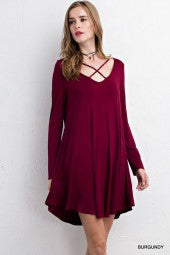 Burgundy Criss Cross Longsleeve dress