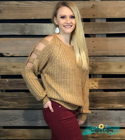All That Glitters Cut Out Sleeve Sweater