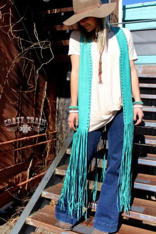 Turquoise Studded Duster Vest