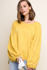 Walking  on Broadway Exaggerated Bubble Sleeve Top