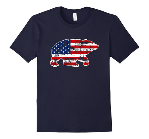 Bear Native American USA Flag T-Shirt