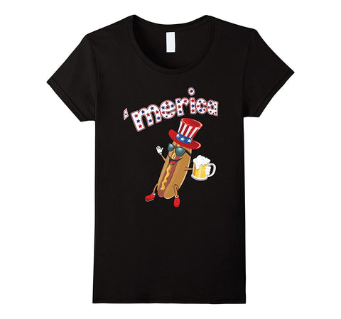 4th 'Merica of July Beer Drinkin' Hot Dog T-shirt