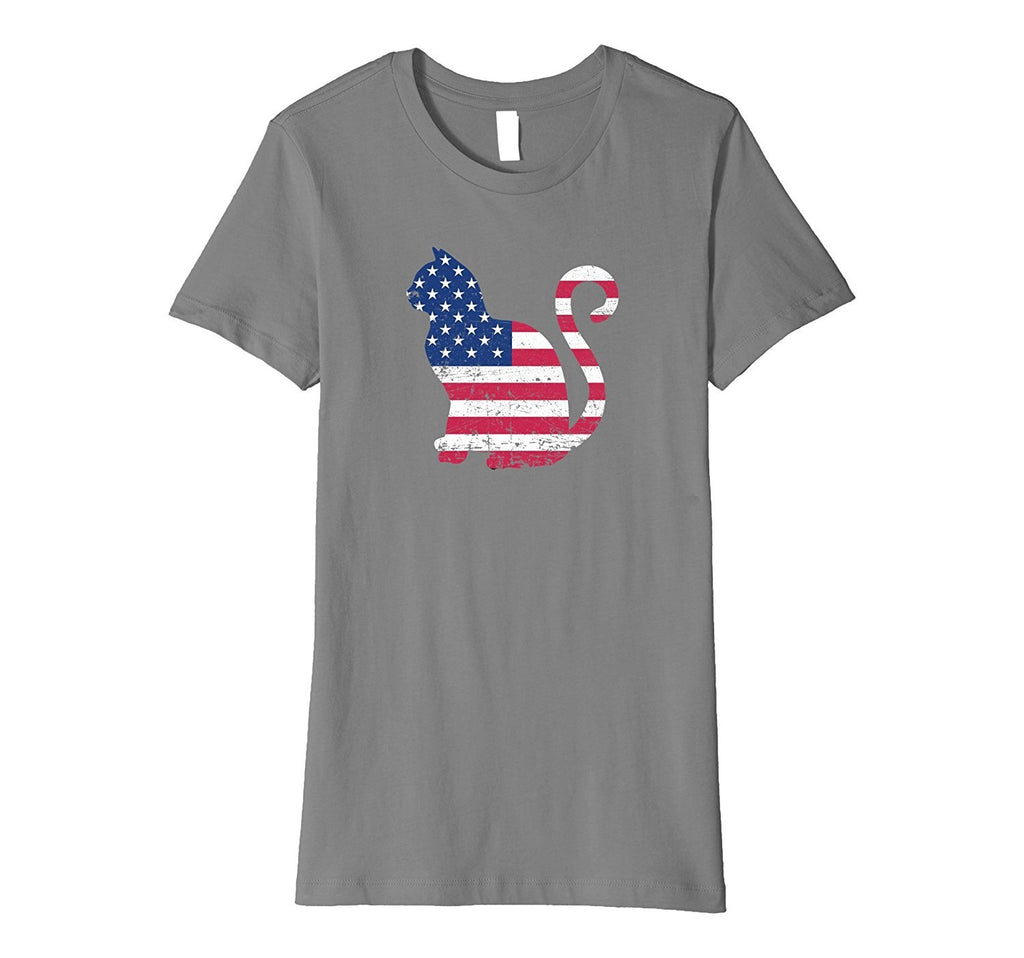 USA American Flag Cat Distressed Style Patriotic T-shirt