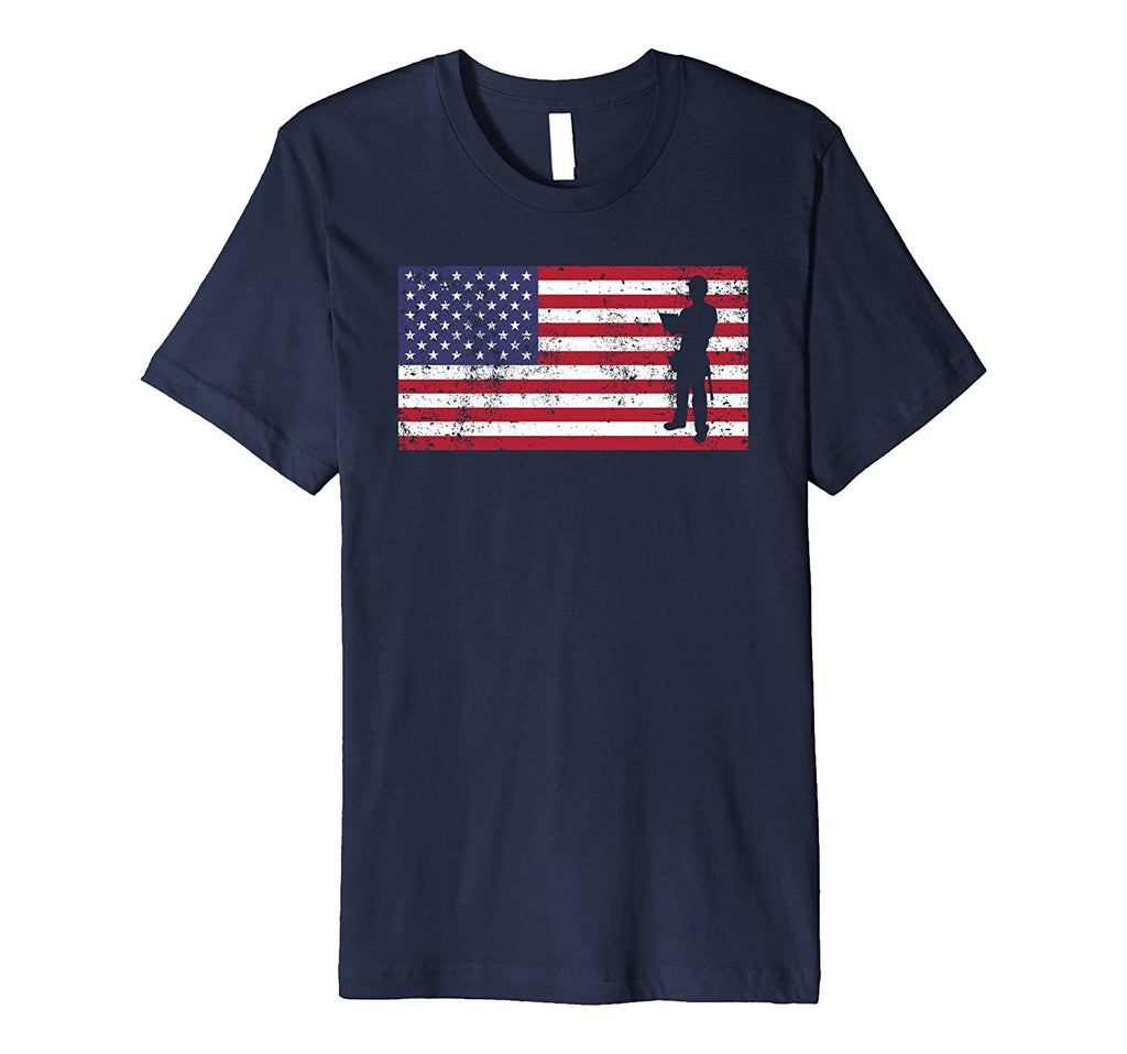 American Flag Construction Worker Patriotic Dad T-Shirt