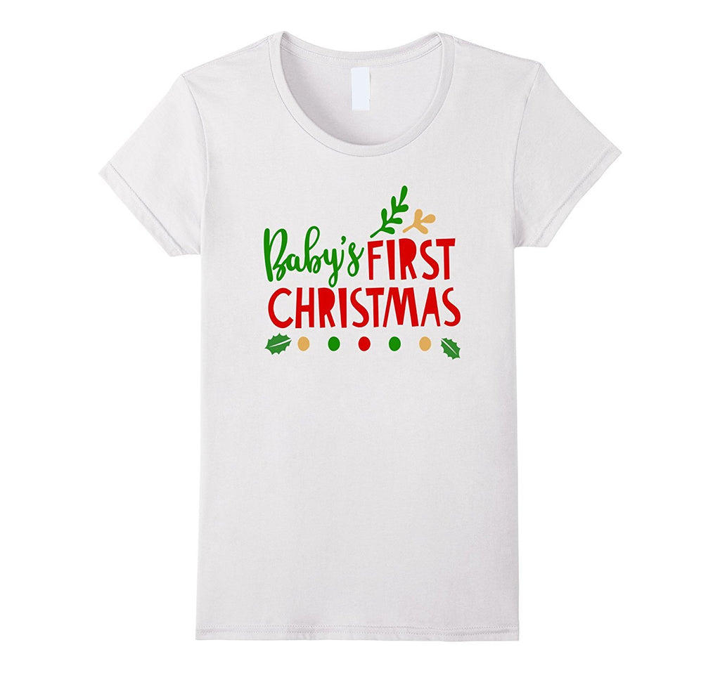 Babys First Christmas Shirt Holiday Family Photo Mom Dad Kid