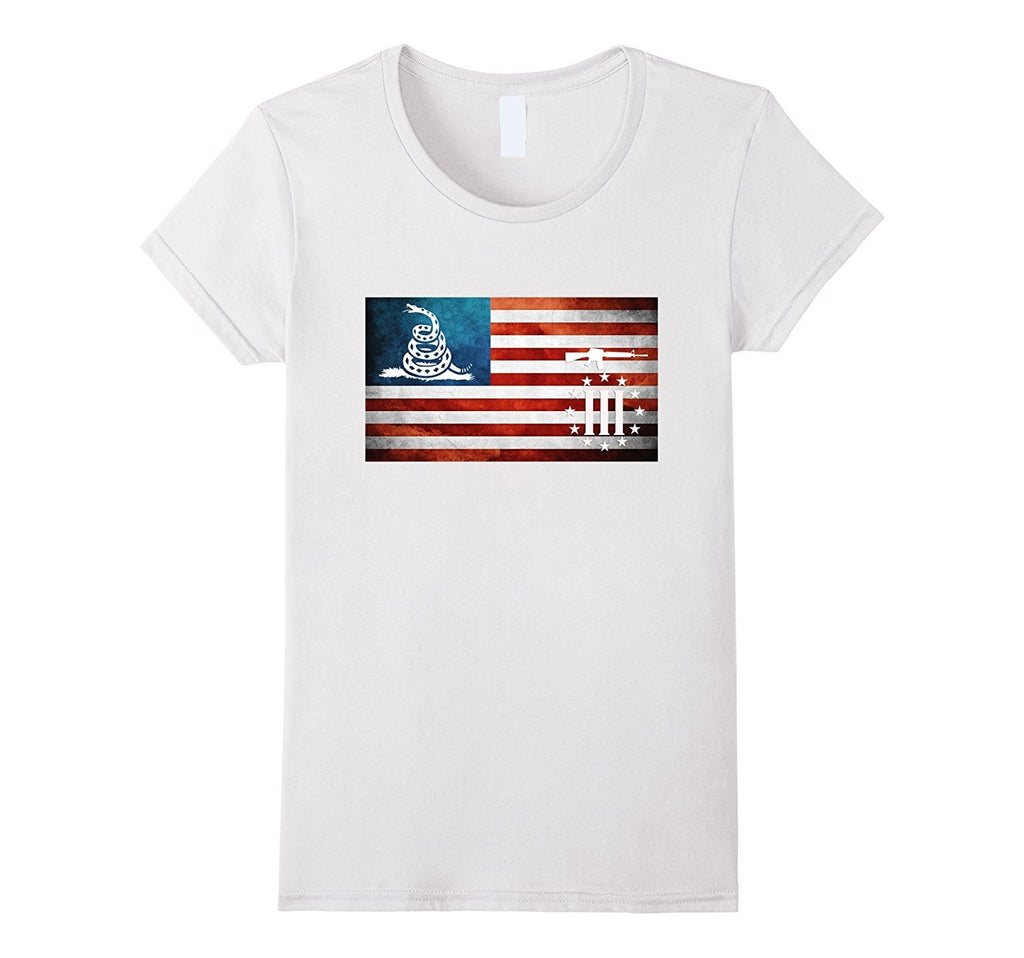 American Flag Gadsden Three Percenter Military Veteran Shirt