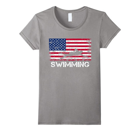 American Flag Swimming Shirt - Swimming Team Gift