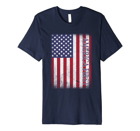 America First T-shirt American Flag Us Tee Usa Great Again