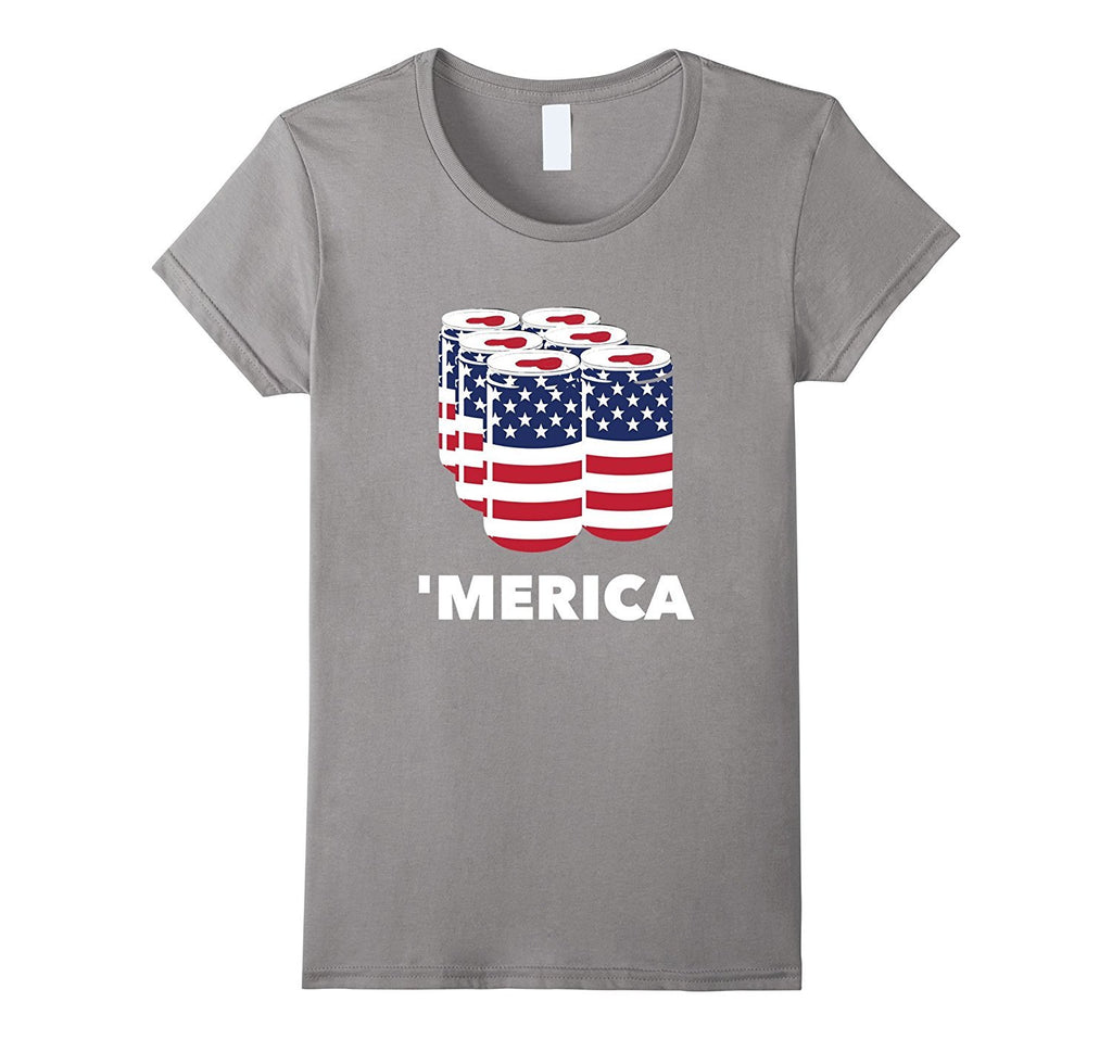 Merica Beer Pack USA Flag T-Shirt | Funny 4th July Tee Gift
