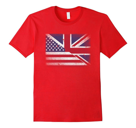 British American Flag T-shirt United Kingdom Uk Union Jack
