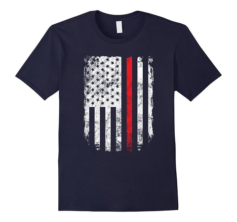 Thin Red Line USA Flag Shirt Fireman Firefighter 4th of July