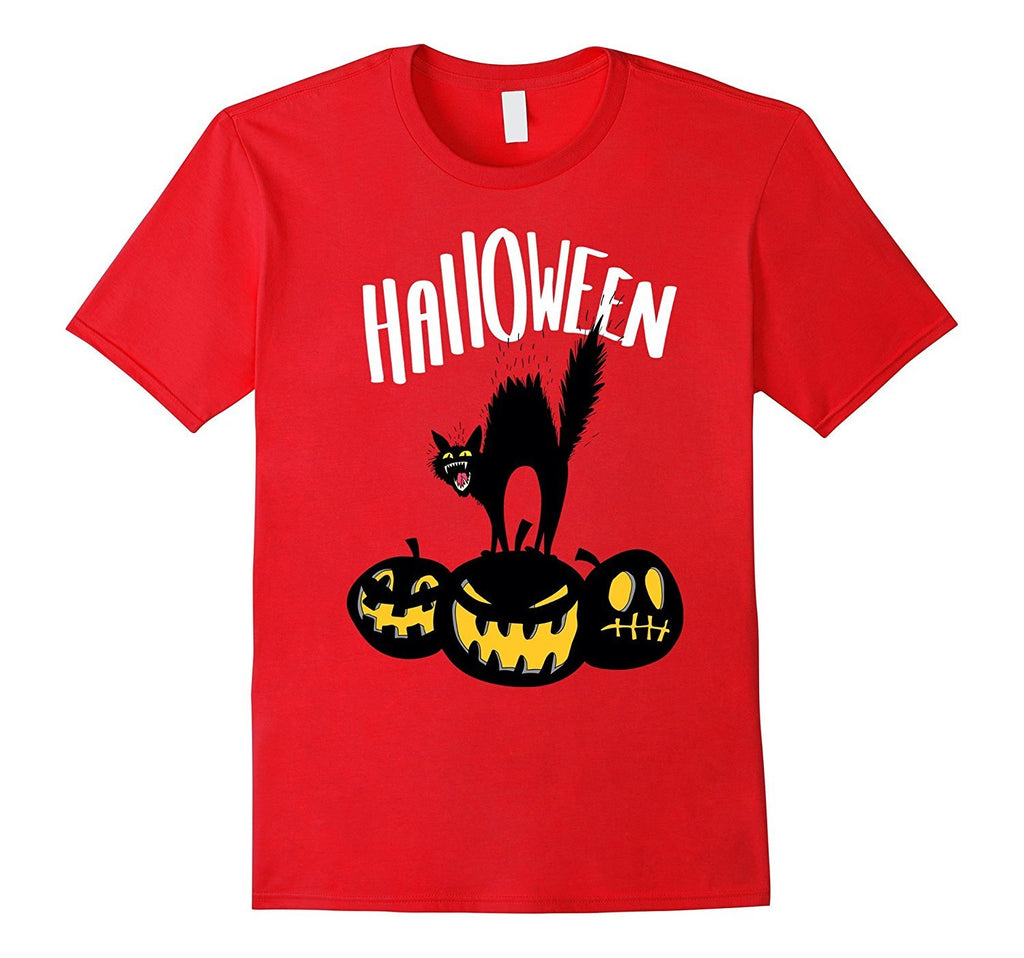 Black Cat And Pumpkins - Scary Halloween Tshirt